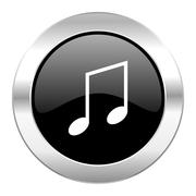 Stock Illustration of music black circle glossy chrome icon isolated.