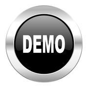 Demo black circle glossy chrome icon isolated. Stock Illustration