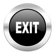 exit black circle glossy chrome icon isolated. - stock illustration