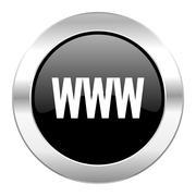 Www black circle glossy chrome icon isolated. Stock Illustration