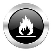 Flame black circle glossy chrome icon isolated. Stock Illustration