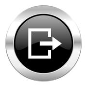 Exit black circle glossy chrome icon isolated. Stock Illustration