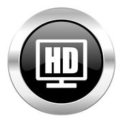 hd display black circle glossy chrome icon isolated. - stock illustration