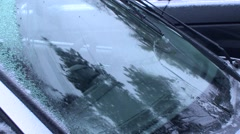 Winter - Car - Ice Windshield Wipers - stock footage