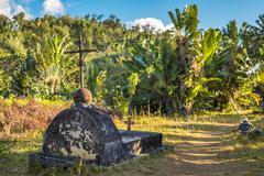The cemetery of past pirates at st. mary island, madagscar Stock Photos