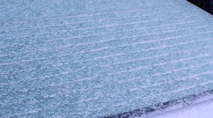 Winter - Car - Rear Window Defrosting Stock Footage