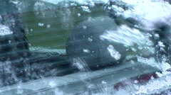 Winter - Car - Rear Window Scraping and Brushing - with Audio - stock footage