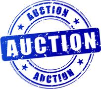 Auction blue stamp Stock Illustration