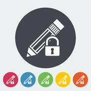 Stock Illustration of Lock for editing single icon.