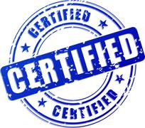 certified blue stamp - stock illustration
