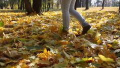 Person in jeans goes on the autumn fallen-down maple leaves Stock Footage