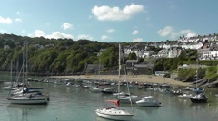 New Quay harbour and beach, Wales Stock Footage