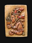 Stone bas-relief jum kaash centeotl latin america - stock photo