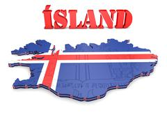 map illustration of iceland with flag - stock illustration