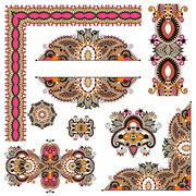 Stock Illustration of set of paisley floral design elements for page decoration