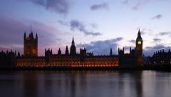 London Big Ben Westminster Time Lapse with Thames Stock Footage