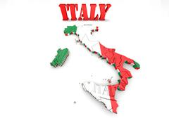 map of italy with flag - stock illustration