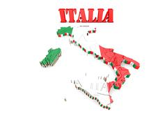 Map of italy with flag Stock Illustration