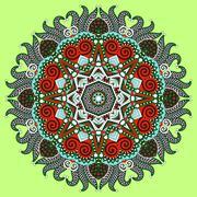 Circle lace ornament, round ornamental geometric doily pattern - stock illustration