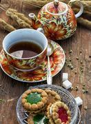 tea ceremony and sweets - stock photo