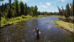 Stock Video Footage of Fly Fishing Aerial Casting