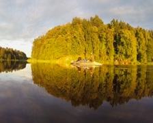 Wide river, green landscape. Tourists rest in boat, relaxation, click for HD Stock Footage