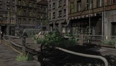 Apocalypse City dolly shot - Video Background - 4K Stock Footage