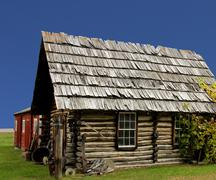 old rustic log cabin - stock photo