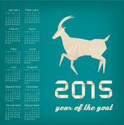 2015 year of the goat calendar. vector Stock Illustration