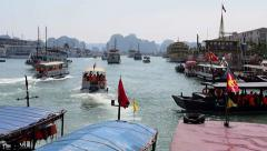 Tourists Departing on Boats to Halong Bay, Ha Long City, Vietnam Stock Footage