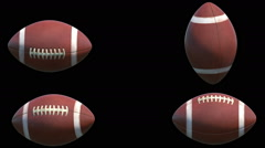 4 Different rotations of American Football Balls Stock Footage
