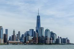 lower manhattan skyline: one world trade center - stock photo