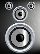 speaker on a silver metal texture - stock illustration