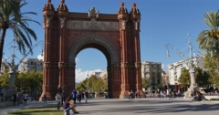 4K Arc de Triomf in Barcelona Stock Footage