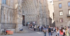 4K Barcelona Cathedral Stock Footage