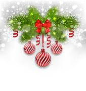 Christmas glowing background with fir branches, glass balls, ribbon bow, stre Stock Illustration