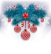 Christmas background with fir branches, glass balls and sweet canes Stock Illustration