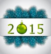 Happy new year background with fir twigs Stock Illustration
