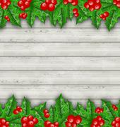 christmas decoration holly berry branches on wooden background - stock illustration