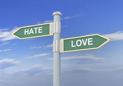 3d hate love road sign - stock illustration