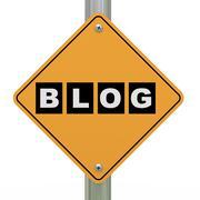 3d road sign blog Stock Illustration