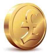 Pound coin - stock illustration