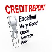 3d man and credit score report Stock Illustration