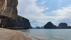 Thailand Limestone cliff in Phang-Nga Bay Stock Footage