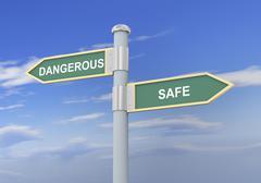 3d dangerous safe road sign Stock Illustration