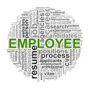circular wordcloud design employee word - stock illustration