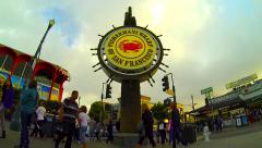 Fisherman's Wharf Sign San Francisco CA Time-Lapse Panning Left Stock Footage