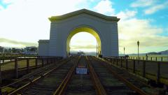 Pier 43 Ferry Arch Fisherman's Wharf San Francisco CA Tme-Lapse - Panning Right Stock Footage