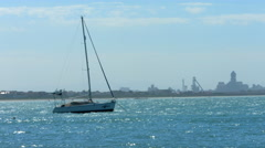 Sailboat on Sea, Western Cape, South Africa Stock Footage