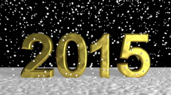 Golden 2015 in Three Dimensional on Snow Design - stock footage